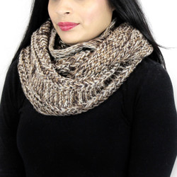 Vintage Tone Knitted Infinity Scarf Brown and Khaki