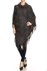 Cowl Neck Crocheted Poncho with Sequins Black