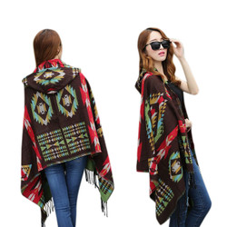 Hooded Scarf Wrap Aztec Multicolor Print Brown