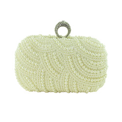 Faux Pearl Beaded Clutch with Rhinestone Ring