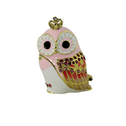 Pink Baby Owl with Crown Trinket Box