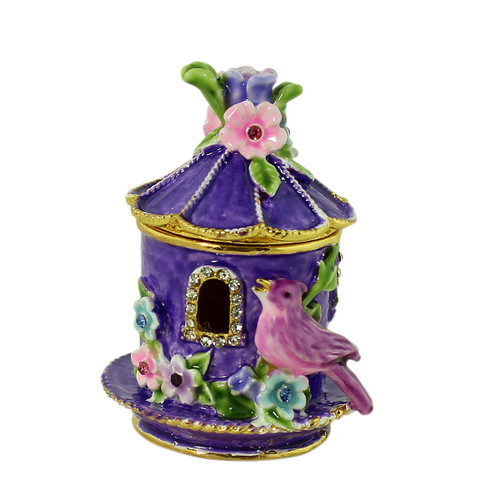 Purple Birdhouse with Flowers Trinket Box