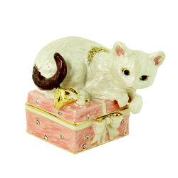 White Cat on Gift Box Trinket Box