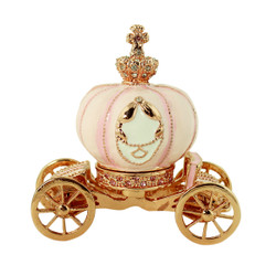 Cinderella's Pink Pumpkin Coach Trinket Box Rose Gold
