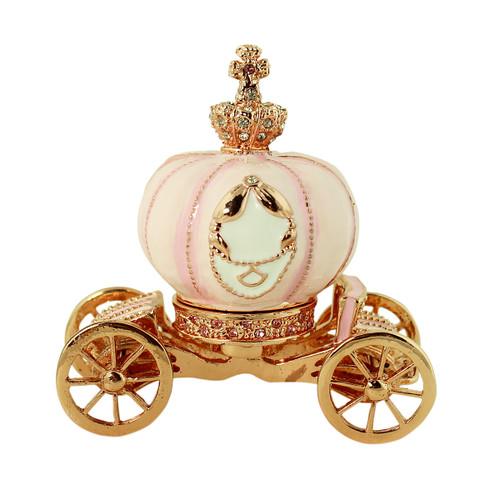 Cinderella's Pink Pumpkin Coach Trinket Box Rose Gold