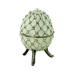 Ivory Egg Trinket Box with Pearl and Crystals