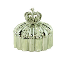 Crown Trinket Box Bejeweled Silver