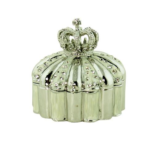 Crown Trinket Box Bejeweled Silver