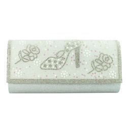 Stiletto and Roses Evening Clutch Silver