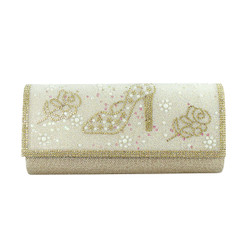 Stiletto and Roses Evening Clutch Gold
