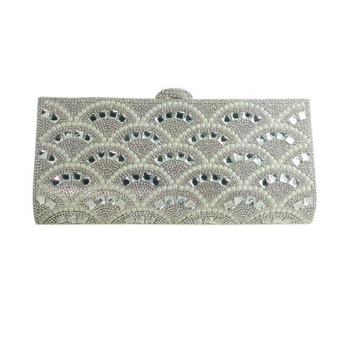 Rhinestone and Pearls Evening Clutch Silver