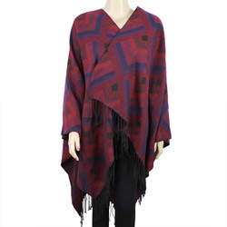 Tribal Arrows Open Front Fringed Ruana Wrap Burgundy and Navy