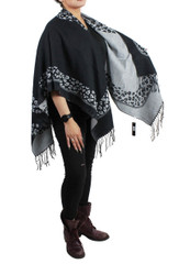 Leopard Print Two Tone Open Front Ruana Wrap Black and White