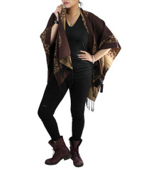 Leopard Print Two Tone Open Front Ruana Wrap Brown and Beige