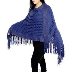 Streak of Brilliance Crocheted Poncho V-neck Navy