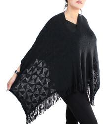 V-Neck Knitted Short Poncho Black