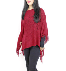 V-Neck Knitted Short Poncho Burgundy