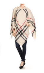 Hooded Plaid Poncho with Tassels Ivory and Black