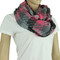 Basketweave Fringed Infinity Scarf Pink and Grey