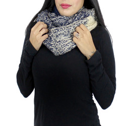 Color Block Knitted Infinity Scarf Blended Color Navy and Ivory