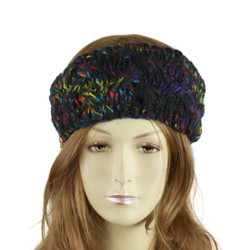 Multicolor Braided Knitted Headband black