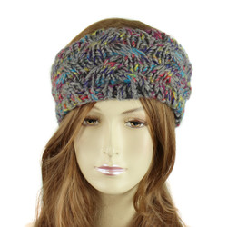 Multicolor Braided Knitted Headband Grey