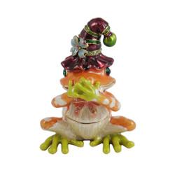 Speak No Evil Jester Frog Trinket Box