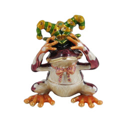 See No Evil Jester Frog Trinket Box