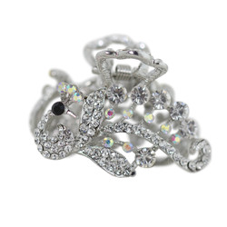 Small Rhinestone Bird Hair Claw Clip Silver