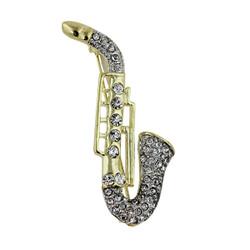 Crystal Detailed Saxophone Brooch