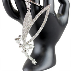 Large Wings Rhinestone Fairy Key Chain Silver