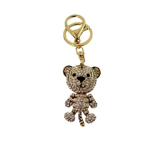 White Rhinestone Tiger Key Chain Gold