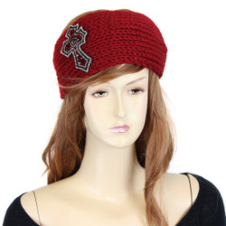 Knitted Burgundy Headband with Beaded Cross