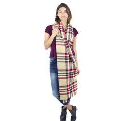 Cozy Designer Inspired Plaid Scarf Khaki
