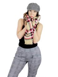 Cozy Designer Inspired Plaid Scarf Haymarket Khaki