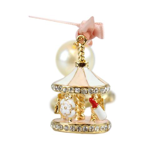 Rhinestone Carousel Keychain Pink and Gold