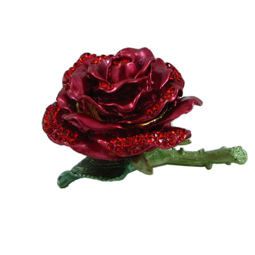 Red Rose Trinket Box Bejeweled