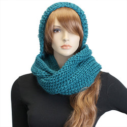 Hooded Infinity Scarf With Pom Pom Teal