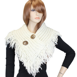 Cable Knit Button Collar Scarf With Fringe White