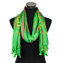 Caduceus Sheer Scarf with tassels Green