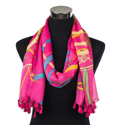 Caduceus Sheer Scarf with tassels Fuchsia
