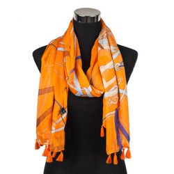 Caduceus Sheer Scarf with tassels Orange