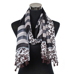 Animal Print Plaid Scarf with Tassels Black