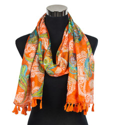 Paisley Design-Sheer Silk/Polyester Long Scarf Orange