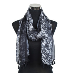 Abstract Splash Paint Scarf with Tassels Black