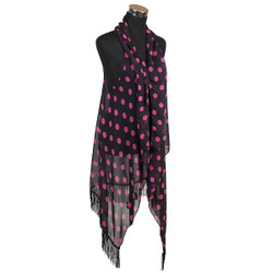Polka Dot Print Chiffon Tassel Vest Wrap Black and Fuchsia