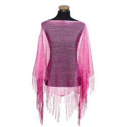 Shimmer and Shine Fringed Poncho Fuchsia