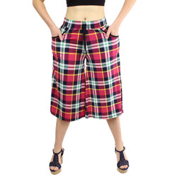 Multi-Color Plaid Print Culottes