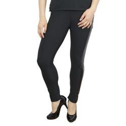Black Leggings with Faux Leather Panels
