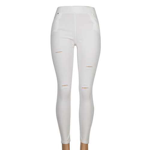 Distressed Sexy Stretch Jeggings White